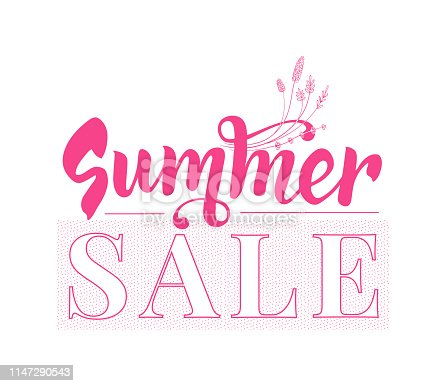 Summer sale banner template. Design with text. vector