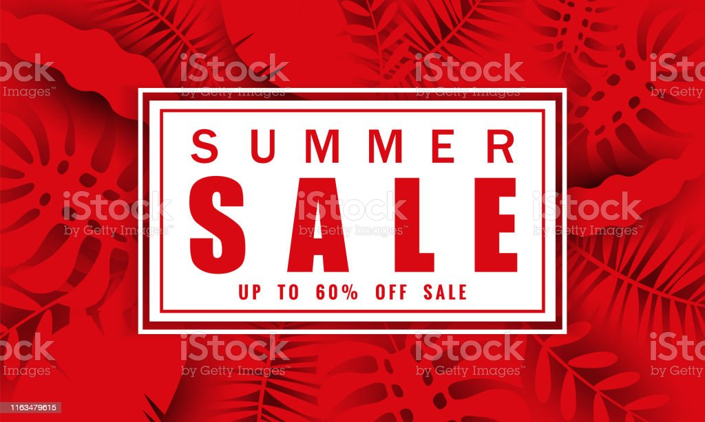 Summer sale banner template with tropical leaves background, color...