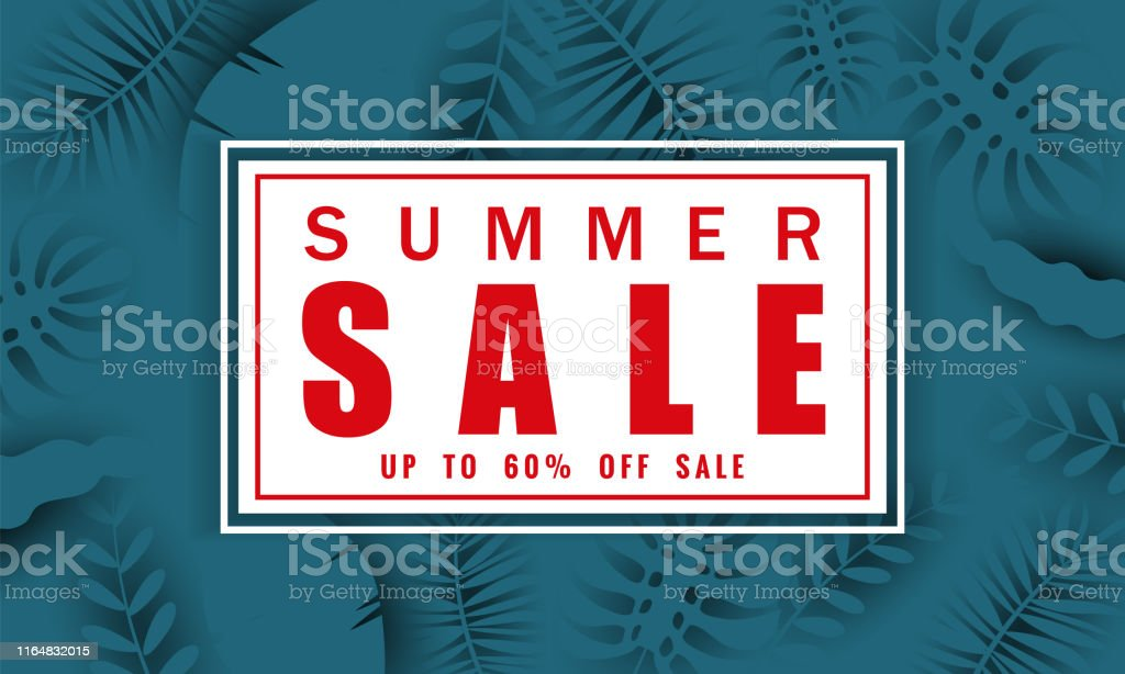 Summer sale banner template for seasonal sales with tropical leaves...