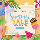 Summer sale banner template for social media and mobile apps with paper art travel and vacation background. Vector illustration