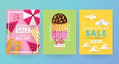 Summer sale banner template set for social media and mobile apps with paper art travel and vacation background. Vector illustration