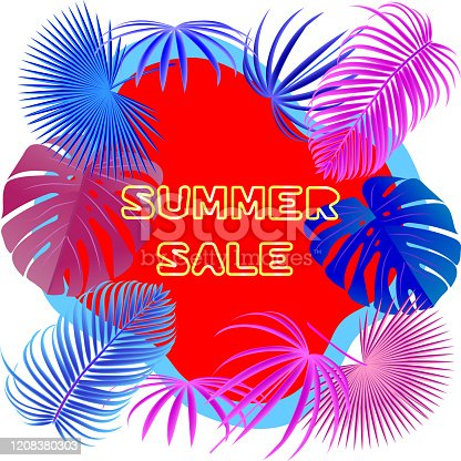 istock Summer sale banner template. Summer abstract geometric tropicalbackground with palm leaves.Vector illustration. Design for social media banner, poster, advertisement, flyer,poster, brochure. 1208380303