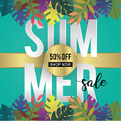 Summer sale banner template trendy season advertising and promotion background with exotic leaves decoration 3d paper cut style