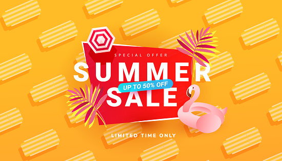 Summer sale banner template with beach accessories on bright orange background. Promotion banner for website, flyer and poster. Vector illustration