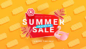 istock Summer sale banner template with beach accessories on bright background. Promotion banner for website, flyer and poster. Vector illustration 1324576853