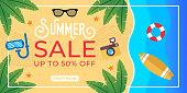 Summer Sale Banner Vector Design Illustration. Abstract Summer Sale background design template for banner, flyer, invitation, poster, brochure. Summer Sale Vector flat design illustration.