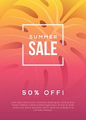 Summer sale background with tropical leaf. Beach party banner or poster design.