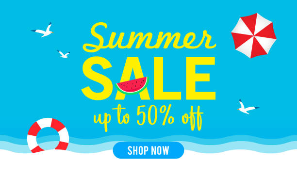 summer sale banner vector illustration, blue sky with summer beach elements. - summer background stock illustrations