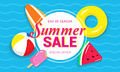 Summer sale banner vector illustration, Pool toys, yellow rubber ring and ball floating on water.