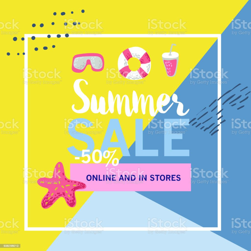 summer sale banner with beach elements discount poster template hand
