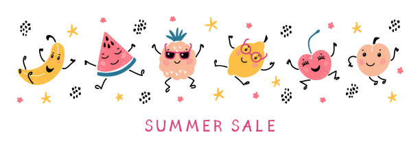 Summer Sale Banner with Cartoon Doodle Funny Cute Fruits and Berries. Vector Colorful Food Set. Happy Kawaii Fruit icons Summer Collection Summer Sale Banner with Cartoon Doodle Funny Cute Fruits and Berries. Vector Colorful Food Set. Happy Kawaii Fruit icons Summer Collection avocado borders stock illustrations