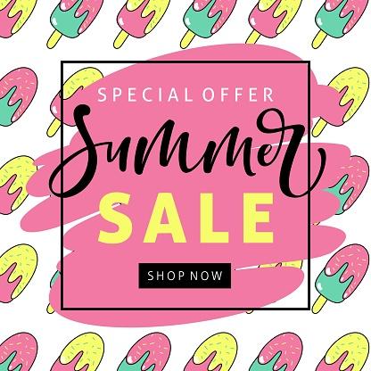 다채로운 아이스크림 여름 판매 배너입니다 개념과 주제에 대한 스톡 벡터 아트 및 기타 이미지