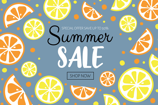 Summer Sale banner with fruit background. Vector