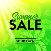 Summer sale vector banner with green leaves. Shop now