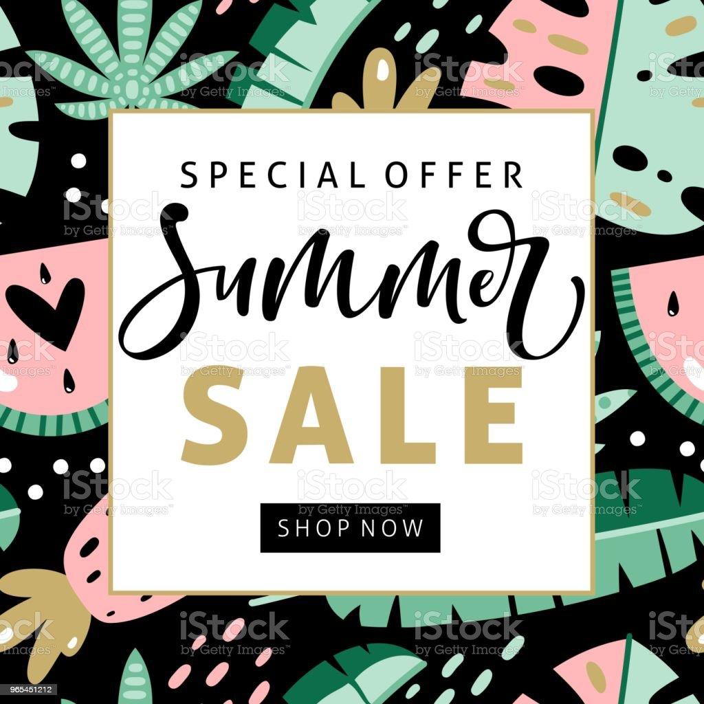 夏季銷售橫幅與手寫文字和熱帶元素。 - 免版稅個性圖庫向量圖形