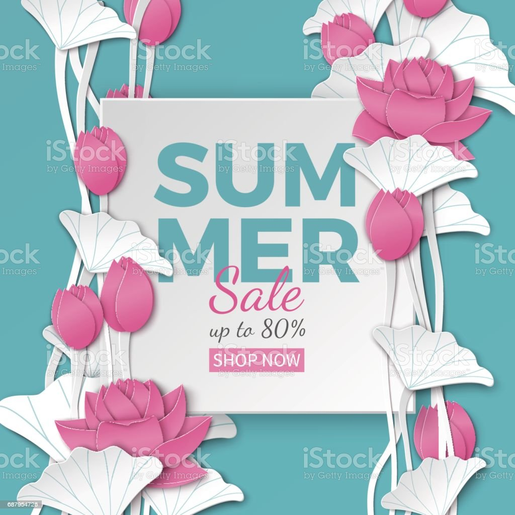 Summer Sale Banner With Paper Cut Frame And Blooming Pink Lotus