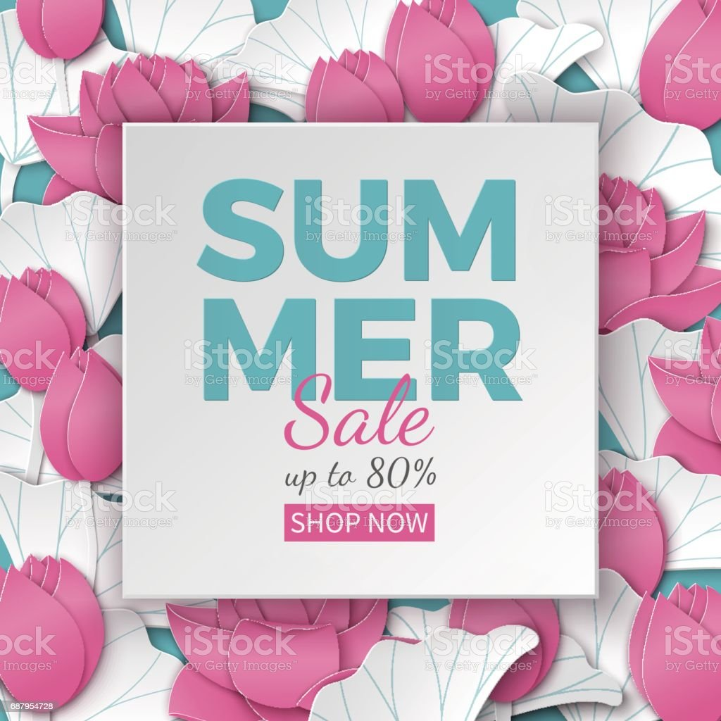 Summer sale banner with paper cut frame and blooming pink lotus summer sale banner with paper cut frame and blooming pink lotus flowers on blue floral background izmirmasajfo