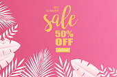 Summer, Sale, Paper, Tropical Pattern, Tropical Leaves, Web Banner, Fashion, Cosmetics, Spa, Advertising, Social media banner, Ads, Sale Promotion