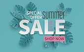 Summer sale banner with paper cut tropical leaves background, exotic floral design for banner, flyer, invitation, poster, web site or greeting card. Paper cut style, vector illustration