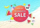 Yellow Summer Sale banner with bananas, bright design. Vector design
