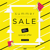 Summer Sale banner with pieces of ripe fruit, cloud, fresh design. Vector Eps 10 format