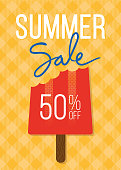 Summer sale banner with Popsicle Stick - Illustration