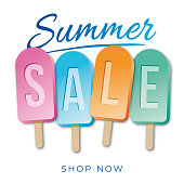 Summer sale banner with Popsicle Stick. - Illustration