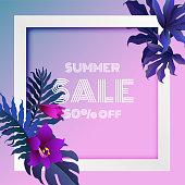 紫トロピカル夏販売バナー背景の葉エキゾチックな熱帯の葉のバナーチラシ