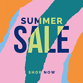 Summer sale banner with ripped papers. - Illustration