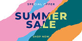 Summer sale banner with ripped papers. Stock illustration