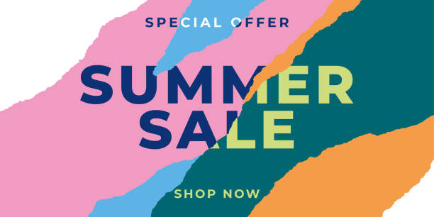 Summer sale banner with ripped papers. vector art illustration