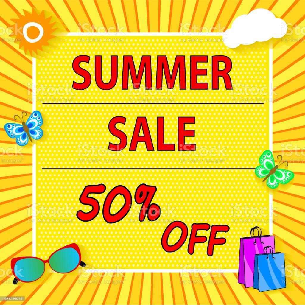 太陽雲バッグ アイコン明るいデザインと夏のセールのバナー かんきつ類