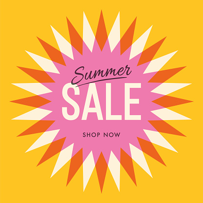 Summer sale banner with sun. Sun with rays. Summer template poster design for print or web.