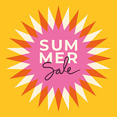 Summer sale banner with sun. Sun with rays. Summer template poster design for print or web. stock illustration