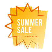 Summer sale banner with sun. Sun with rays. Template design for advertising, banners, leaflets and flyers. Stock illustration