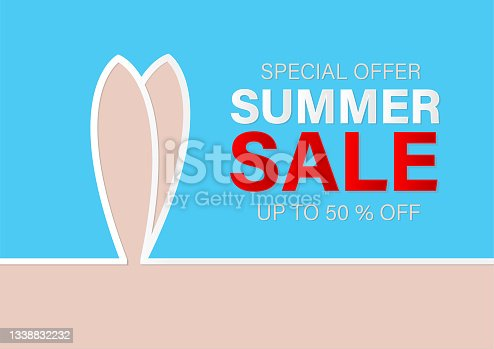 istock Summer sale banner with surf board and  paper cut style, vector illustration, design for banner, flyer, invitation, poster, web site or greeting card 1338832232