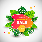 Summer sale banner with tropical leaves. Place for text. Template for poster, web, invitation, flyer. Vector illustration.