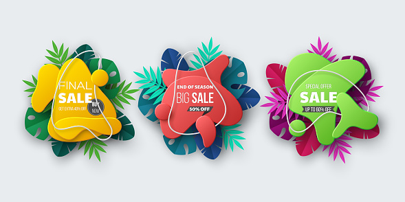 Summer sale banner with tropical palm leaves.