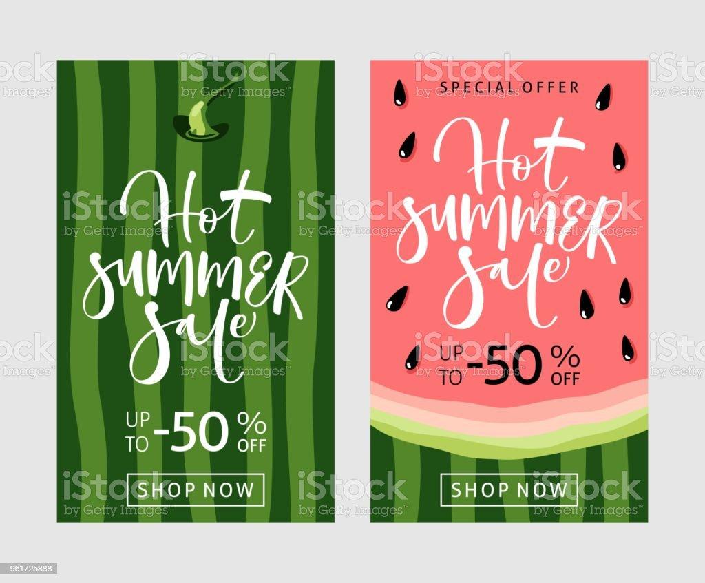 Zomer verkoop banner met watermeloen achtergrond - Royalty-free Advertentie vectorkunst