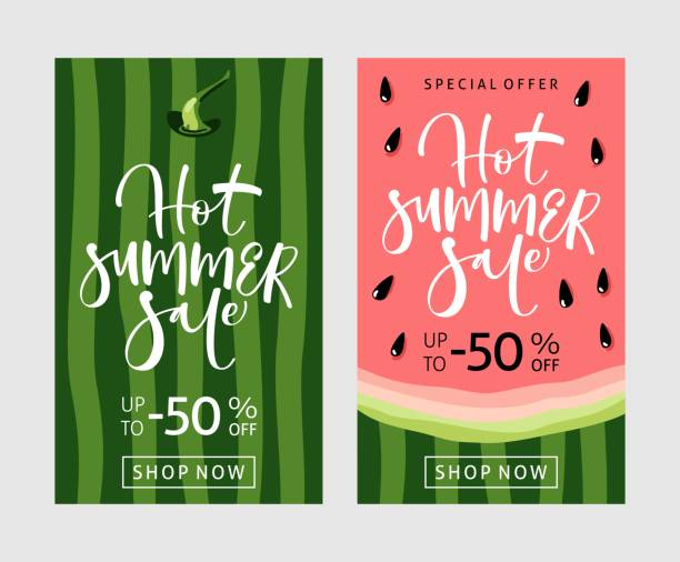 summer sale banner with watermelon background - summer background stock illustrations