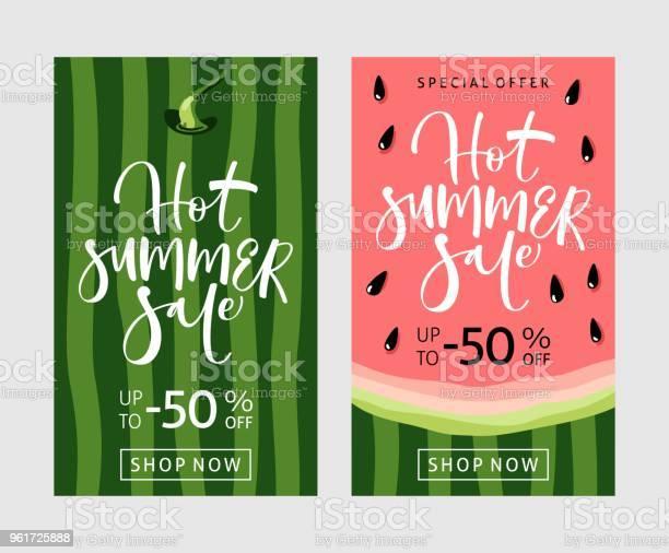 Zomer Verkoop Banner Met Watermeloen Achtergrond Stockvectorkunst en meer beelden van Advertentie