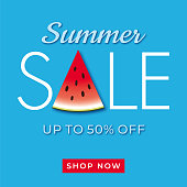 Summer sale banner with watermelon - Illustration