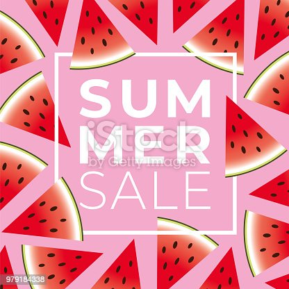 Summer sale banner with watermelon