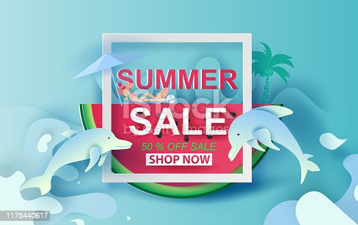 istock Summer Sale Banner With Watermelon.Special Offer Creative design paper cut and craft for card and poster colorful. Holiday woman sunbathing and dolphin Happy enjoy concept.Vector Illustration EPS10 1175440617