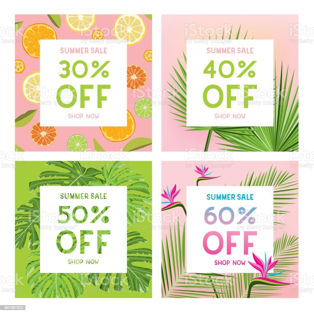Summer sale banners vector art illustration