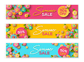 Summer sale banners template with paper cut flowers and leaves. Vector illustration.