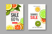 Summer sale banners with sliced citrus and kiwi pieces, leaves and dotted pattern. White background - template for seasonal discounts. Vector illustration.