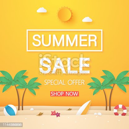 istock Summer sale , beach with coconut tree and stuff , paper art style 1144586895