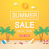 Summer sale , beach with coconut tree and stuff , paper art style
