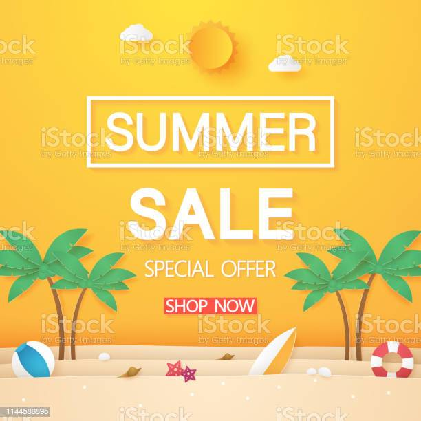 Summer sale beach with coconut tree and stuff paper art style vector id1144586895?b=1&k=6&m=1144586895&s=612x612&h=2eqeciwxysv2jorwq5 jdayoruvs9isaa o41wpgfsy=